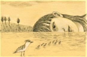 Fille et Oiseau 24X18cm Crayon graphite