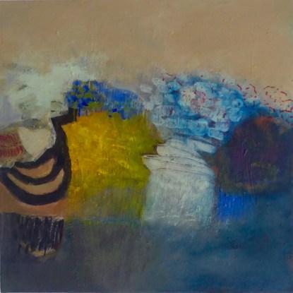 Innocenti, Paysage en arbre bleu, 60x60 cm,acrylique et technique mixte sur toile, Disponible à la Réserve