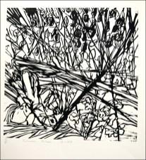 2011, Granier, Cœur de tryptique la foret, Gravure sur bois, 35x35 cm, Disponible à la réserve de la galerie