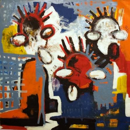 2017, Adokou, Harmonie, Acrylique et collage sur toile, 100x100 cm