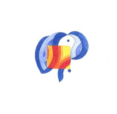 Lena Franolić - KAMI: Igra vatre i vode / The Play of Fire & Water / Das Spiel von Wasser und Feuer 2015 (olovka u boji / coloured pencil / Frabstift - 15 x 15 cm)