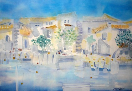 Dagmar Franolić - Kuće na moru / Houses at the Sea / Häuser am Meer 2016 - akvarel / watercolour / Aquarelle - 50 x 70 cm