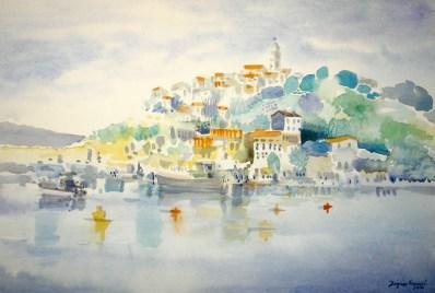 Dagmar Franolić - Vrbnik 2016 - akvarel / watercolour / Aquarelle - 35 x 50 cm