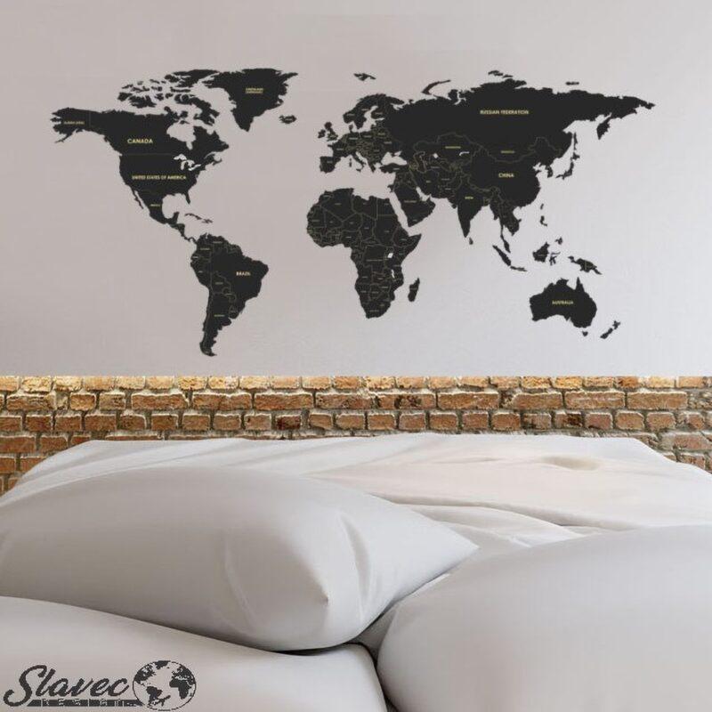 GALERIJA KREATIVNIH_galerijakreativnih.si - SLAVEC-PRO_Leseni zemljevid sveta z oznakami držav