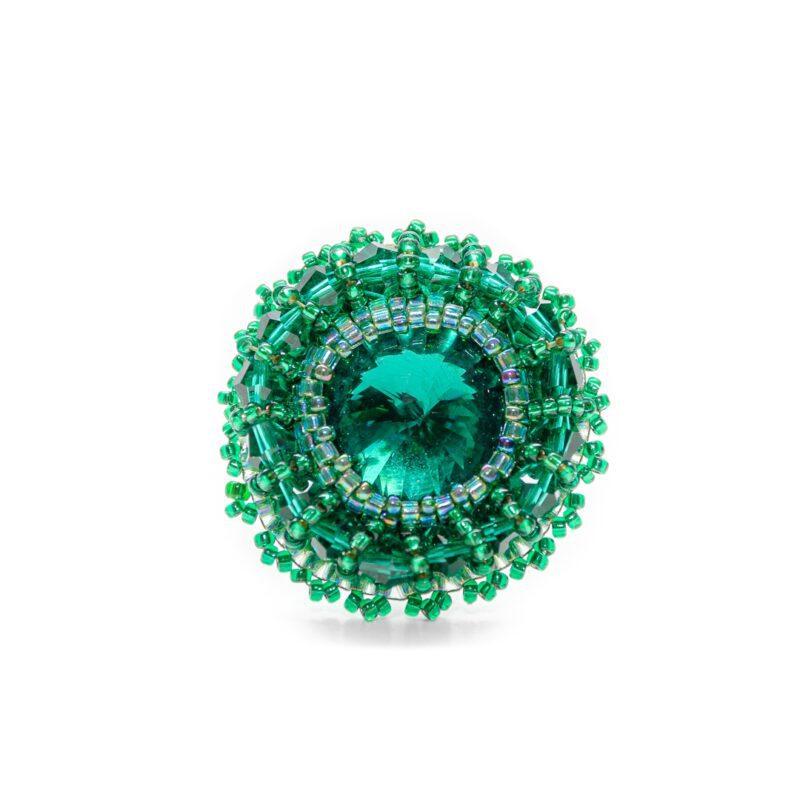 zelen nastavljiv prstan iz perlic