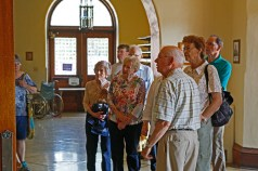 Harold Griffith leads a tour of the building