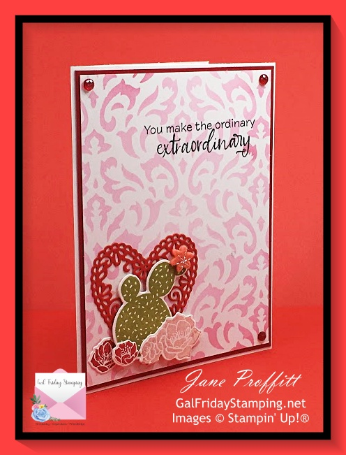 Stenciled background, cactus and flowers from the Flowering Cactus Product Medley for today's Simple Saturday card.