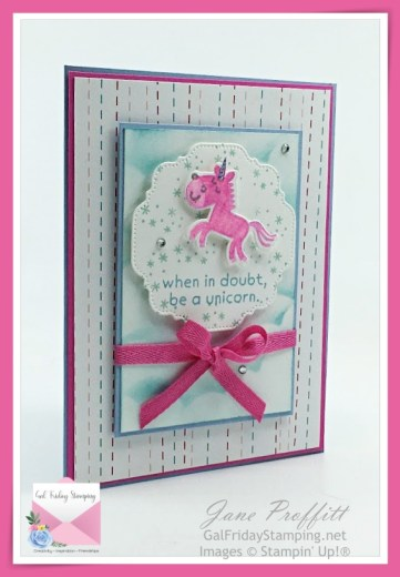 let's be a unicorn today with Hippo Happiness.  Magenta Madness and Seaside Spray are the colors used for this sweet card.