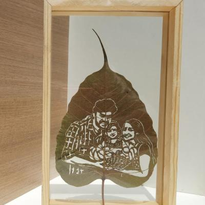 Customized Leaf Art Portrait with Table Top Frame
