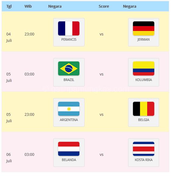 Jadwal 8 besar Perempat Final Piala Dunia 2014