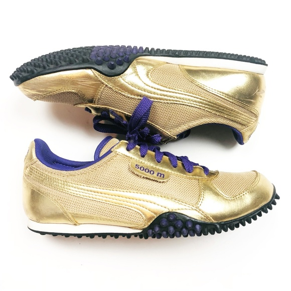 Gently Worn Puma 5000m Metallic Gold & Purple Laced Sneakers
