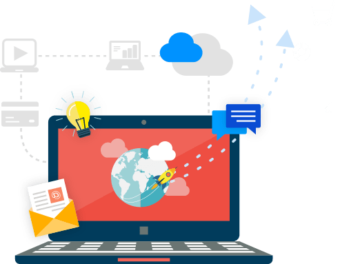 Laptop with messaging, envelopes, clouds, planet, rocket and bulb graphics