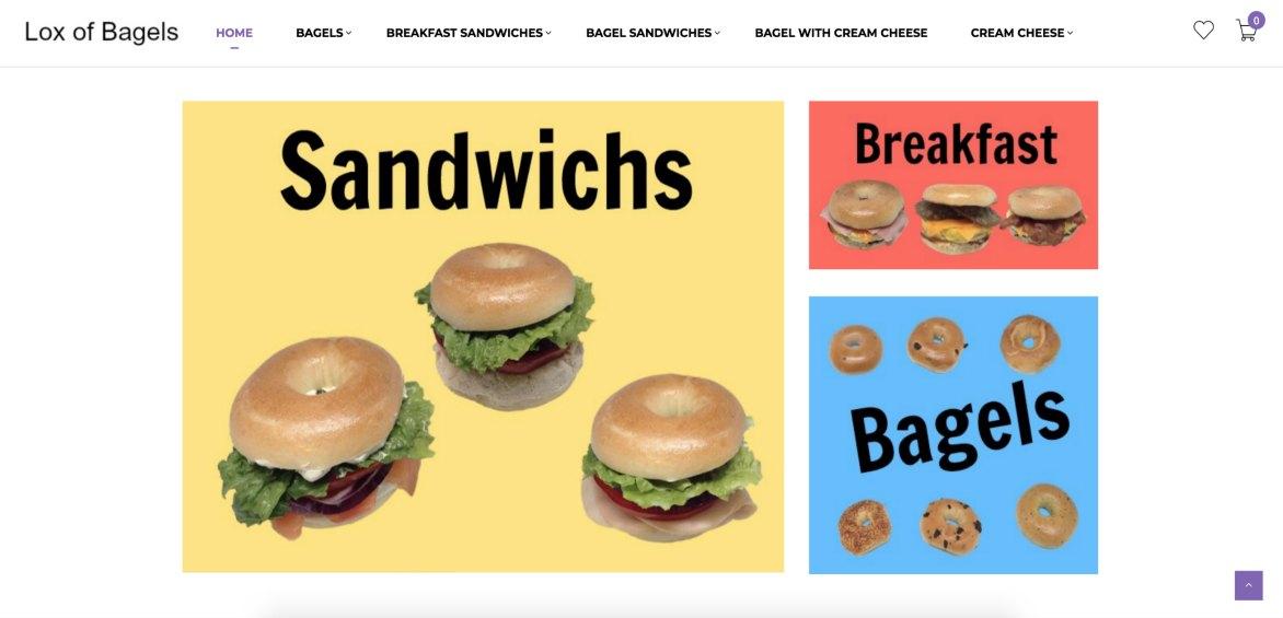 Lox of Bagels, Bagels website example