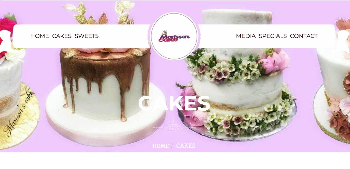 Marissas Cakes website example