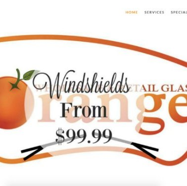 Windshields from $99.99 Orange Auto Glass website example