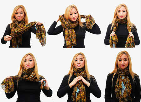 Как красиво завязать шарф на шее на пальто или куртку, видео