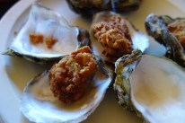 Locally farmed oysters nicely fried and presented.