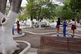 School children in the downtown park.