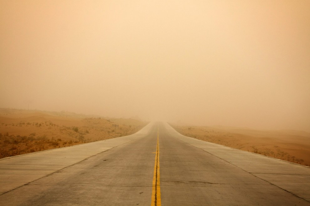 Visibility during a sandstorm in Ningxia Province is reduced to all but a couple of hundred meters.