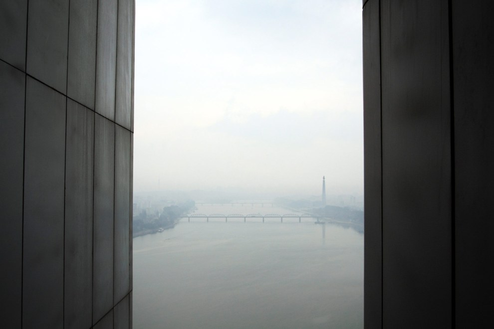 A view over the Taedong River in central Pyongyang, viewed from the Yanggakdo Hotel.