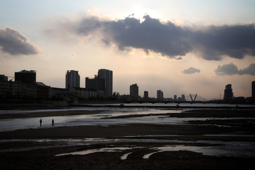 A view of the town of Yanji at sunset, close to the border with North Korea.