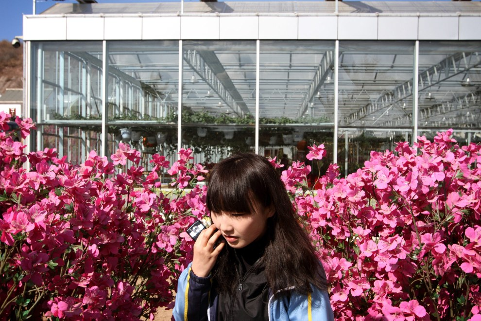 A schoolgirl visiting an agricultural shopping centre in the town of Yanji, close to the border with North Korea.