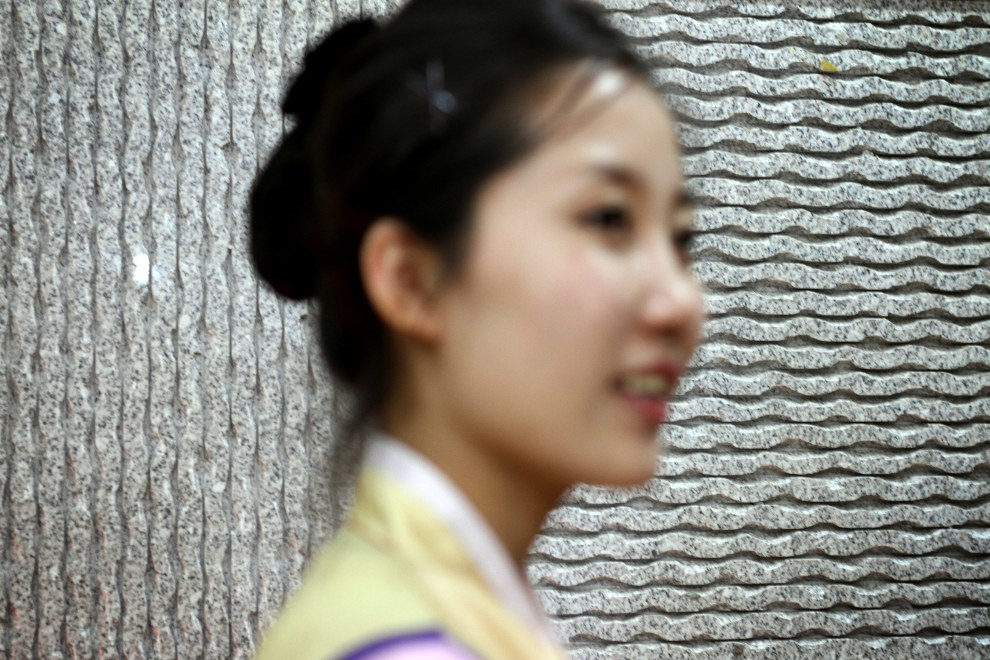 A North Korean woman in a restaurant in the town of Yanji, close to the border with North Korea.