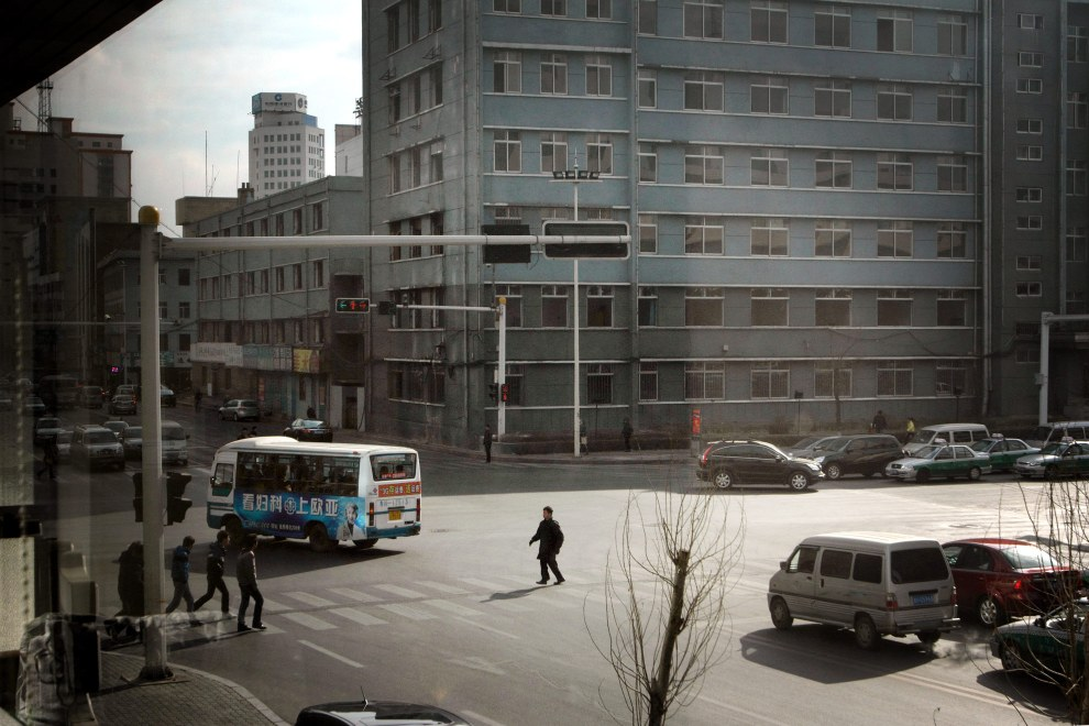 Streetscene in the town of Yanji, close to the border with North Korea.