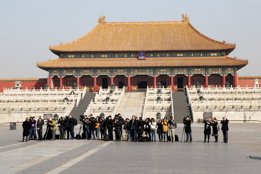Media gathered to report on HRH The Duke of Cambridge's visit to Beijing's Forbidden City.