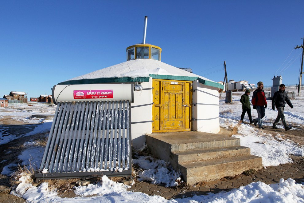 A solar heated yurt at the headquarters of the Hustai National Park, in central Mongolia home to the Przewalski Horse.