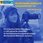 Multimedia Journalism MA – Scholarship Application Open for 17/18