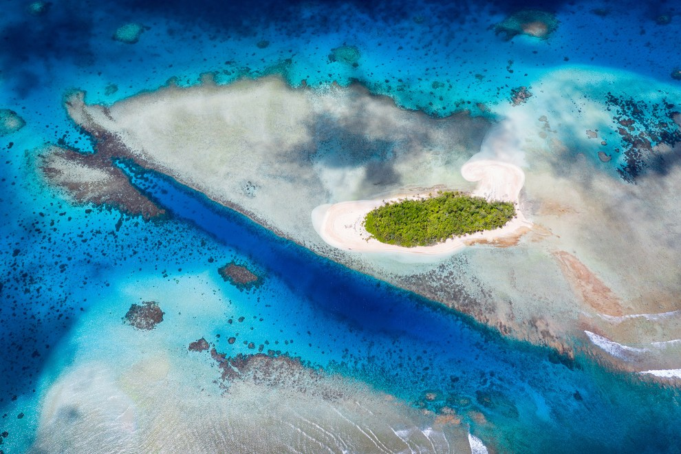 An aerial view of an island in the Funafuti atoll, Tuvalu.