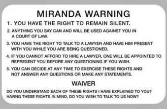Miranda rights warning and waiver questions