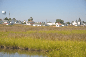 Tangier Island is comprised of marshes and small streams, all connected by wooden bridges.
