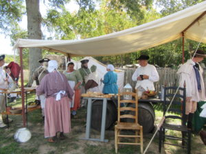 Baking and cooking are demonstrated and it's fresh fare for the troops and farm workers.