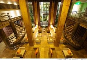 Lobby at the award winning Green Proximity Hotel in Greensboro NC