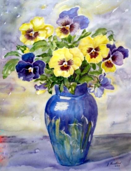 Stedmoder i Blå vase
