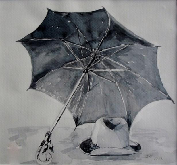 Akvarel: Hat og paraply. str: 20X21 ( kan sælges)