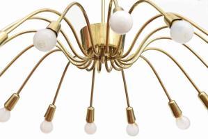 Lampadario LUMI, anni 50, 16 luci, ottone