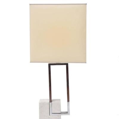 1970s Table Lamp, Carrara marble and chrome metal