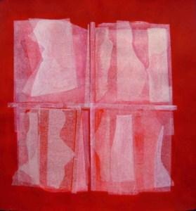 Ignazio Moncada, Archeologie astratte, 1977, acrilico e velina su carta intelata, cm 46x50