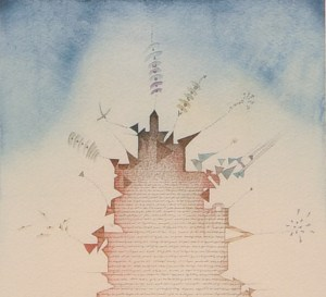 Tullio Pericoli, Torre, 1980, cm 37x27, acquerello e china su carta