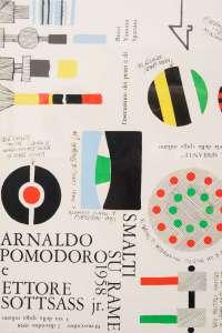 Ettore Sottsass, Locandina di invito alla prima mostra di smalti di Ettore Sottsass alla Galleria Il Sestante, 1958