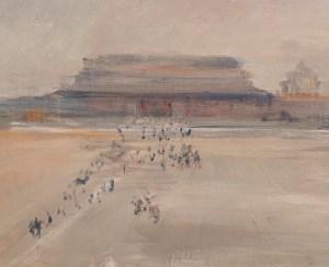 Tomaso Buzzi, Piazza Tienanmen - Ricordi della Cina, anni '70, cm 100x70, olio su tela