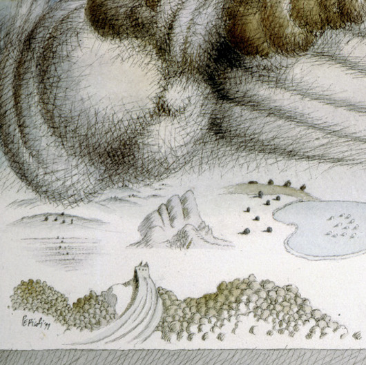 Tullio Pericoli, Paesaggio fantastico, 1991, cm 53x70, china e acquarello