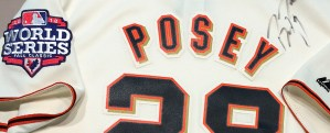 closeup of Posey jersey