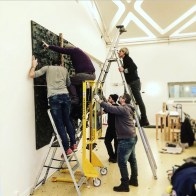 Just one more piece to go. Hanging United Quadrat for Giorgio's exhibition at the Italian Cultural Center in Stockholm.