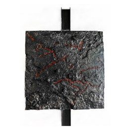 Lava's Creek. Fire series. 100 cm x 100 cm x 6 cm. Concrete, burnled and cast extruded polystyrene. € 8 500
