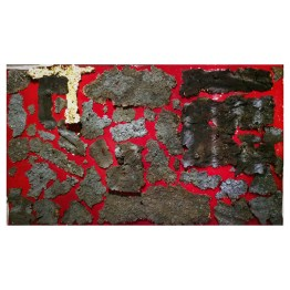"""No 01. Floating Island series. 57 cm x 97 cm x 5 cm. Red coloured resin, plasma-cut wrought iron """"crusts"""", gold leaf. € 6 000"""