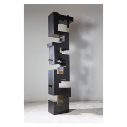 Totem. 220 cm x 51 cm x 29 cm. Stove enamelled iron, etched glass. € 10 500